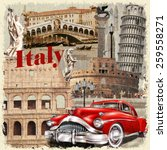 italy vintage poster. | Shutterstock .eps vector #259558271