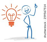 stickman with bulb on the white ... | Shutterstock .eps vector #259567514