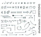 set of vector hand drawn doodle ... | Shutterstock .eps vector #259570541