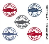 fish labels set 6  rubber stamp ... | Shutterstock .eps vector #259583381