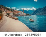 harbour and boats in sunny day... | Shutterstock . vector #259595084
