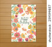 Stock vector fabulous happy birthday card in vector stylish floral poster in bright summer colors butterflies 259599857