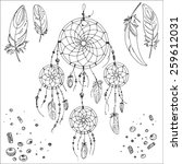 set of ornaments  feathers and... | Shutterstock .eps vector #259612031