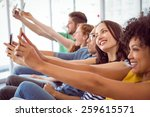 fashion students taking a... | Shutterstock . vector #259615571