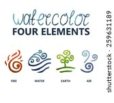 four elements watercolor  fire  ... | Shutterstock .eps vector #259631189