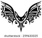 tribal and tattoo  bat with... | Shutterstock .eps vector #259633325