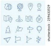 vector thin line icons set for... | Shutterstock .eps vector #259633529