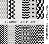 set of 12 seamless geometric... | Shutterstock .eps vector #259633907