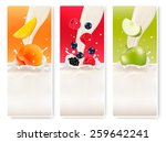 three fruit and milk banners.  | Shutterstock . vector #259642241