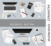 business meeting. working place ... | Shutterstock .eps vector #259644794