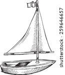 doodle sketch sail boat vector... | Shutterstock .eps vector #259646657