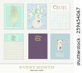 set of 6 creative journaling... | Shutterstock .eps vector #259654067