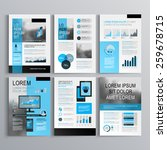 Classic brochure template design with blue shapes. Cover layout and infographics | Shutterstock vector #259678715