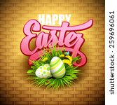 Easter Greeting With Eggs And...