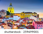 lisbon  portugal skyline at... | Shutterstock . vector #259699001