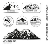 set of mountain and expedition...   Shutterstock .eps vector #259699334