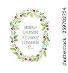 cute floral frame with alphabet ... | Shutterstock .eps vector #259702754