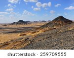Panoramic view of the Black desert in Egypt, Sahara - stock photo