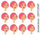 cartoon style pink hair girl.... | Shutterstock .eps vector #259715969