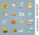natural disaster icons flat set ... | Shutterstock .eps vector #259736297