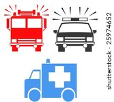 emergency vehicle symbols   Shutterstock . vector #25974652