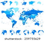 Постер, плакат: World Map Globes Continents