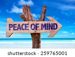 peace of mind wooden sign with... | Shutterstock . vector #259765001