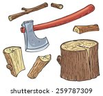 axe    forest wooden log  and... | Shutterstock .eps vector #259787309