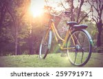 classic bicycle at sunset in... | Shutterstock . vector #259791971