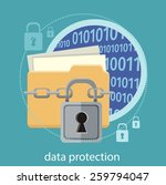 yellow folder and lock. data... | Shutterstock .eps vector #259794047
