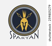 spartan helmet with spears and... | Shutterstock .eps vector #259805279