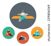 airplane and rocks icon set....