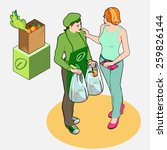 isometric greengrocer shop  ... | Shutterstock .eps vector #259826144