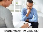 man sharing problems with... | Shutterstock . vector #259832537