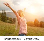 Happiness Woman Stay Outdoor...