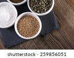 aromatic spices in white bowls... | Shutterstock . vector #259856051