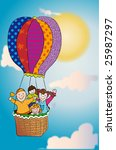 happy kids in a hot air ... | Shutterstock . vector #25987297