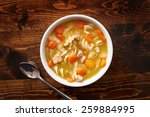 bowl of chicken noodle soup... | Shutterstock . vector #259884995