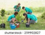 happy friends gardening for the ... | Shutterstock . vector #259902827