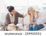therapist comforting upset... | Shutterstock . vector #259905551