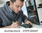 technician fixing computer... | Shutterstock . vector #259918469