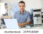 engineer proceeding to data... | Shutterstock . vector #259918589