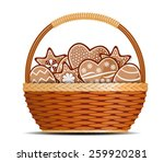 Basket With Ginger Cakes Into...