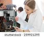 student girl in technology... | Shutterstock . vector #259921295