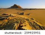 Sunset in the Sahara desert, Akabat mountain, Egypt, Africa - stock photo