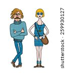 stylishly dressed man and woman.... | Shutterstock .eps vector #259930127