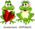 cute frog couple holding red... | Shutterstock .eps vector #259936631