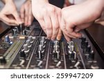 dj mixing music on console at... | Shutterstock . vector #259947209