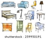 furniture set | Shutterstock .eps vector #259950191