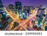 night traffic zips through an...   Shutterstock . vector #259954391